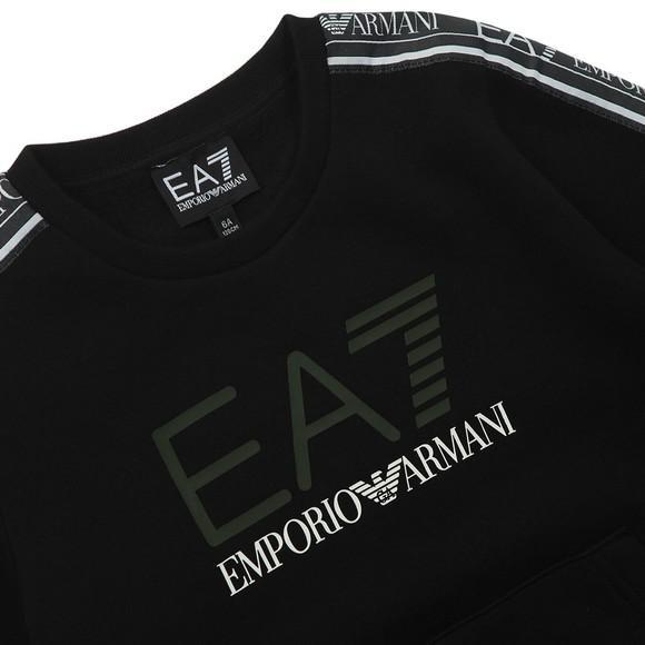 EA7 Emporio Armani Boys Black Tape Sleeve Sweatshirt