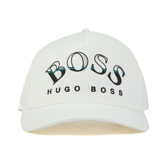 BOSS Mens White Curved Logo Cap