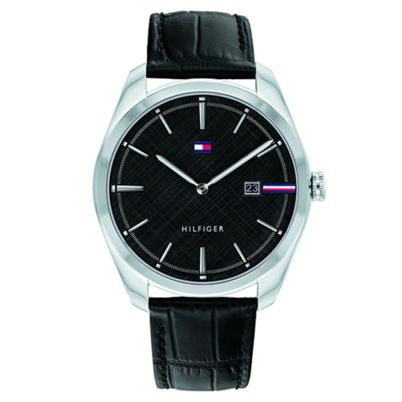 Tommy Hilfiger Mens Black Leather Strap Watch