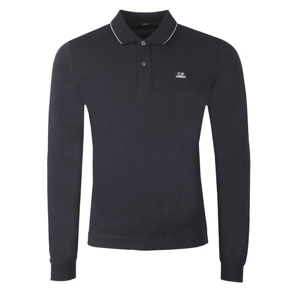 C.P. Company Mens Blue Tipped Long Sleeve Polo Shirt