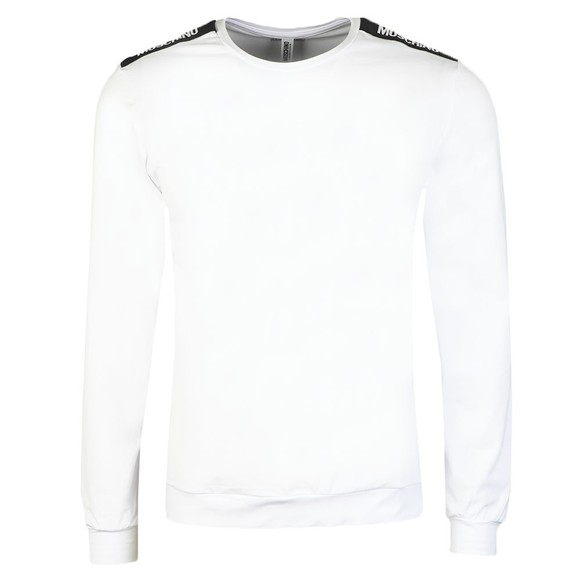 Moschino Mens White Long Sleeve Tape T Shirt