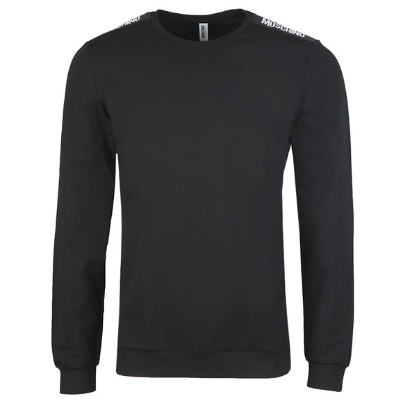 Moschino Mens Black Long Sleeve Tape T Shirt