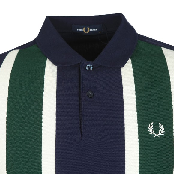 Fred Perry Mens Blue Vertical Stripe Polo Shirt