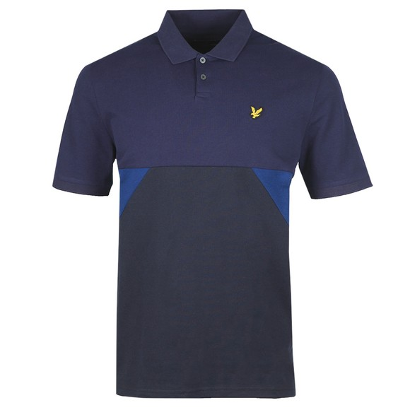 Lyle and Scott Mens Blue Trio Geo Panel Polo Shirt