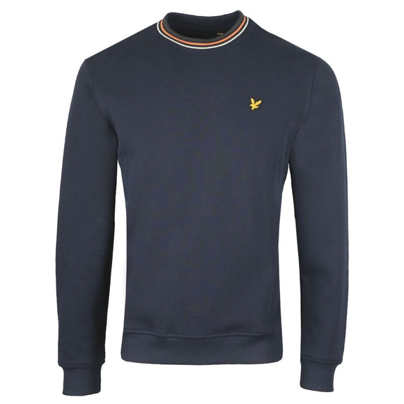 Lyle and Scott Mens Blue Pique Sweatshirt with Tipping main image