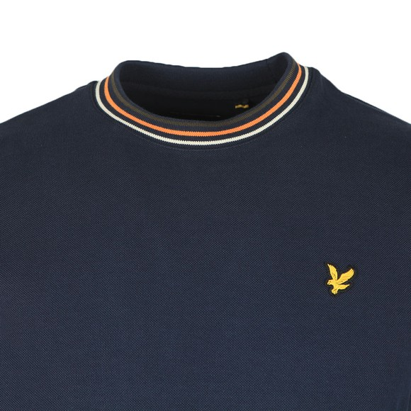 Lyle and Scott Mens Blue Pique Sweatshirt with Tipping