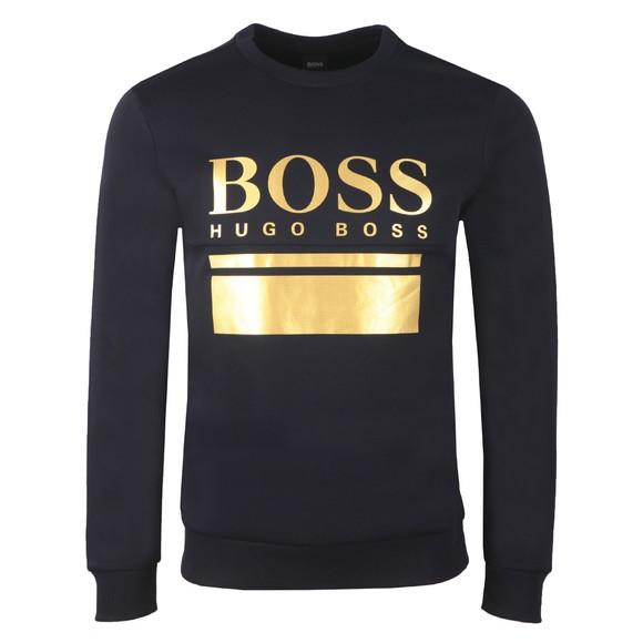 BOSS Mens Blue Athleisure Salbo 1 Crew Sweatshirt