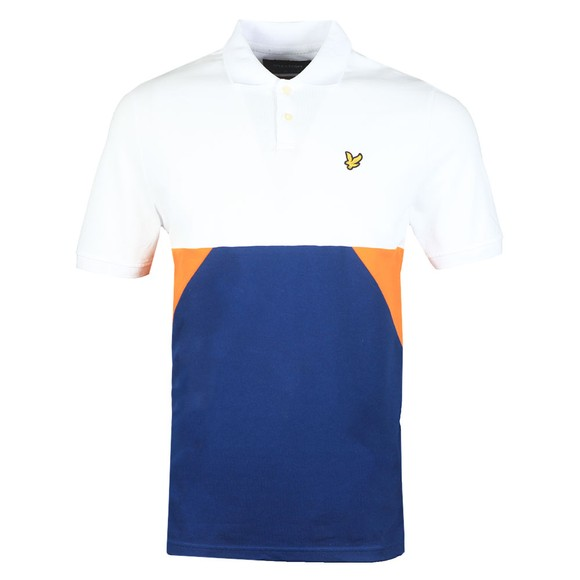 Lyle and Scott Mens White Trio Geo Panel Polo Shirt