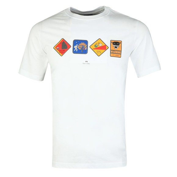 PS Paul Smith Mens White Reflective Warning T-Shirt