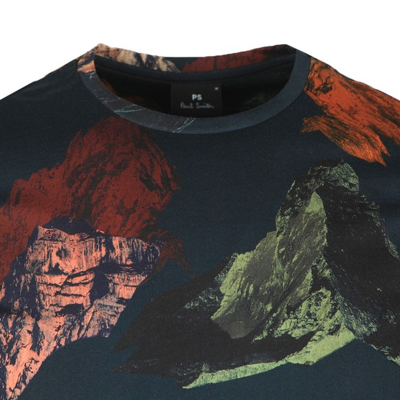 PS Paul Smith Mens Blue Mountains Print T-Shirt