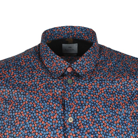 PS Paul Smith Mens Blue SS Slim Print Shirt
