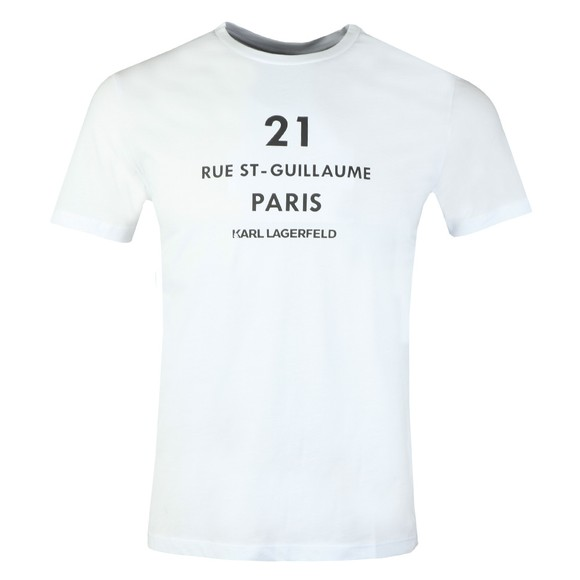 Karl Lagerfeld Mens White Rue St- Guillaume T-Shirt main image