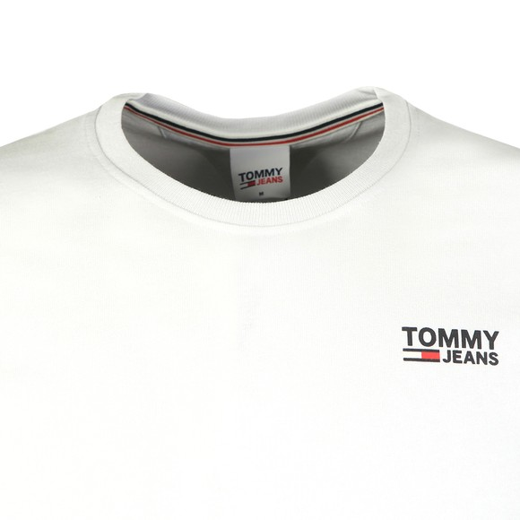 Tommy Jeans Mens White Corp Logo T-Shirt