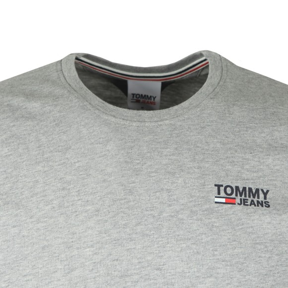 Tommy Jeans Mens Grey Corp Logo T-Shirt
