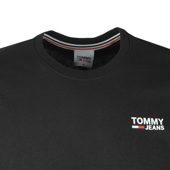 Tommy Jeans Mens Black Corp Logo T-Shirt