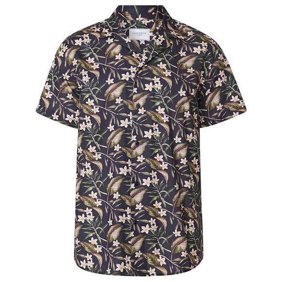Les Deux Mens Blue Latif Flower Print SS Shirt main image