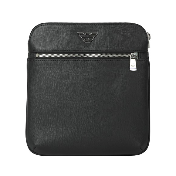 Emporio Armani Mens Black Leather High Logo Messenger Bag