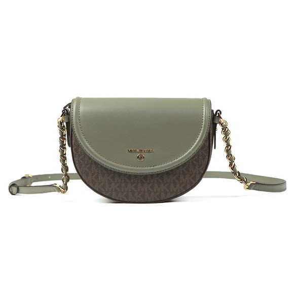 Michael Kors Womens Green Mid Half Dome Chain Crossbody Bag