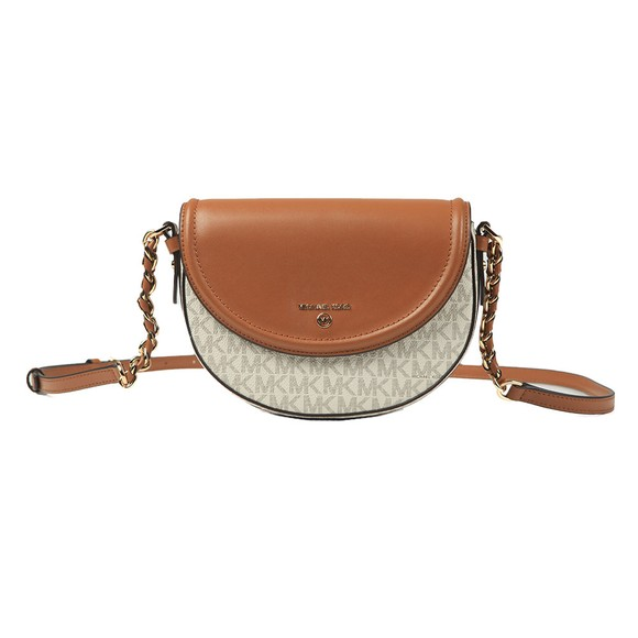Michael Kors Womens Off-White Mid Half Dome Chain Crossbody Bag