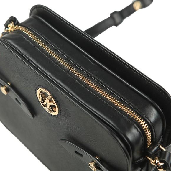 Michael Kors Womens Black Carmen Camera Crossbody Bag main image
