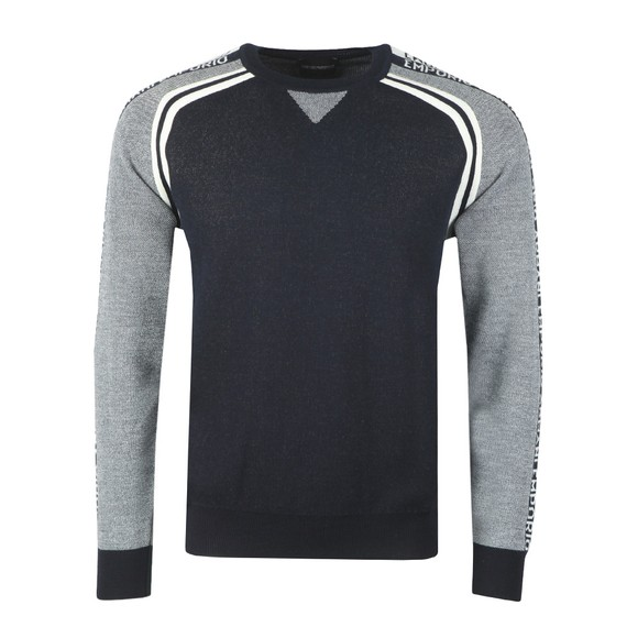 Emporio Armani Mens Blue Shoulder Logo Jumper