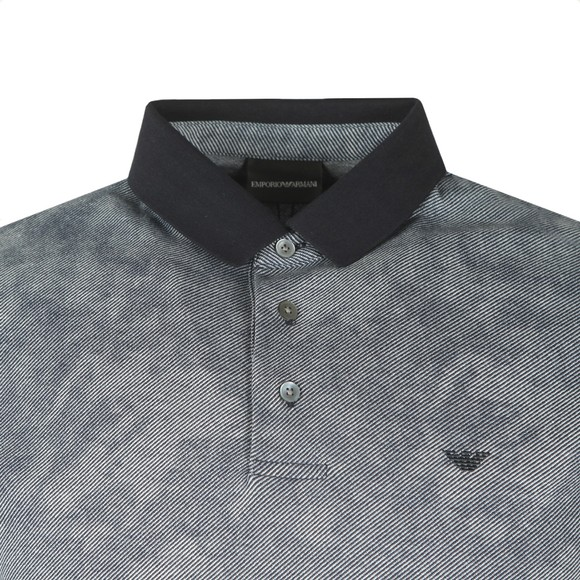 Emporio Armani Mens Blue Small Logo Patterned Polo Shirt