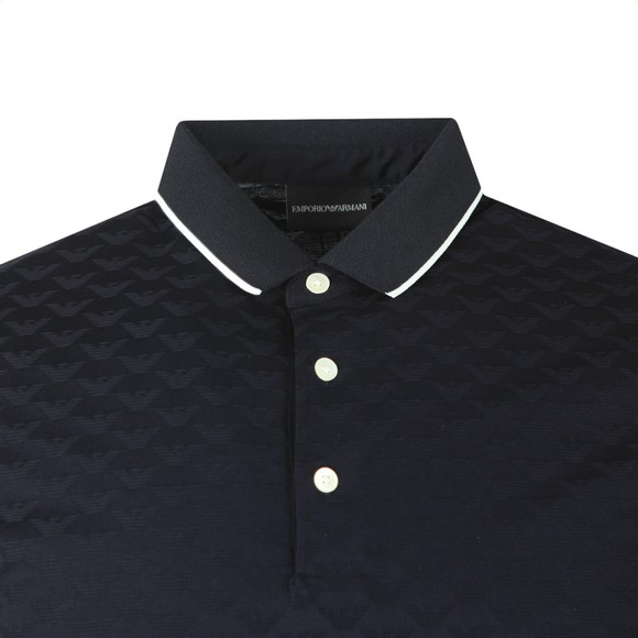 Emporio Armani Mens Blue Allover Pattern Polo Shirt
