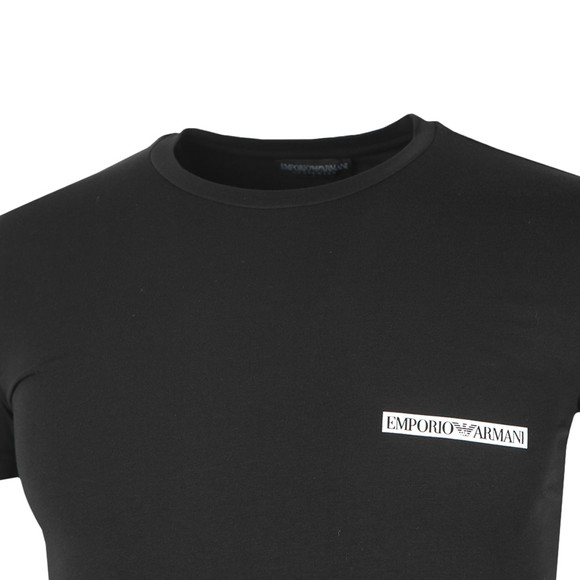 Emporio Armani Mens Black Small Chest Box Logo T-Shirt