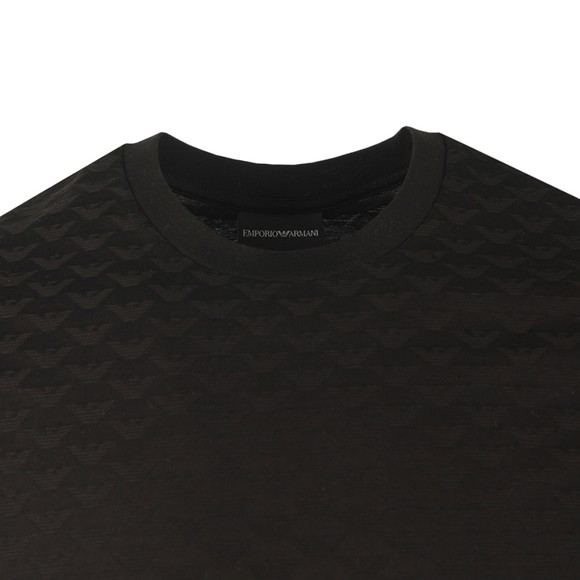 Emporio Armani Mens Black Allover Pattern T Shirt