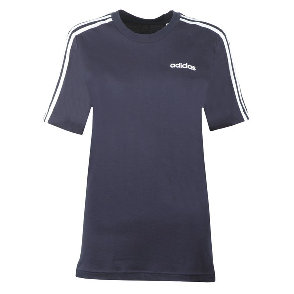 adidas Womens Blue Essential 3 Stripe T-Shirt