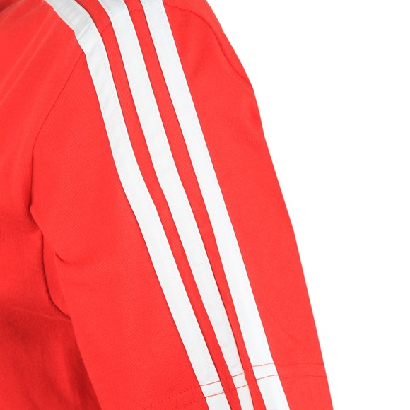 adidas Womens Scarlet/White Essential 3 Stripe T-Shirt