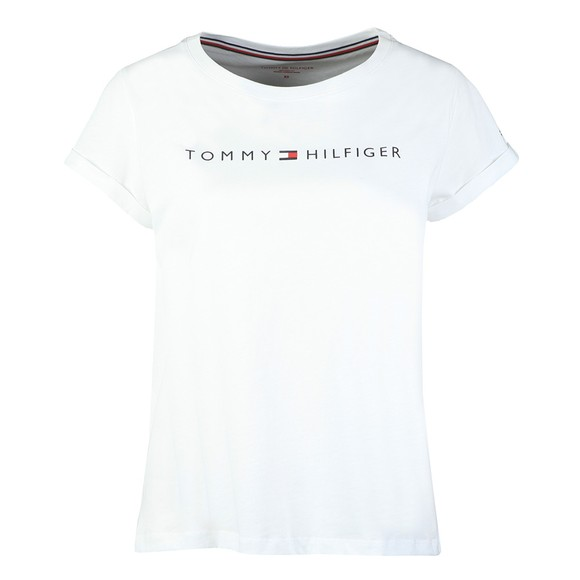 Tommy Hilfiger Womens White SS Round Neck T-Shirt