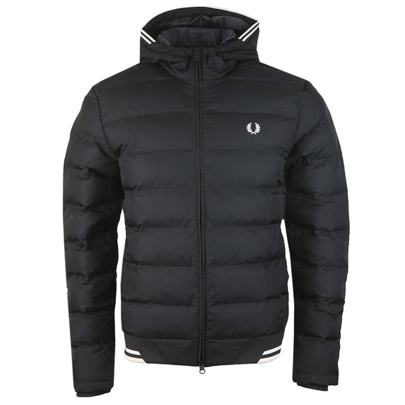 Fred Perry Mens Black Hooded Insulated Jacket main image
