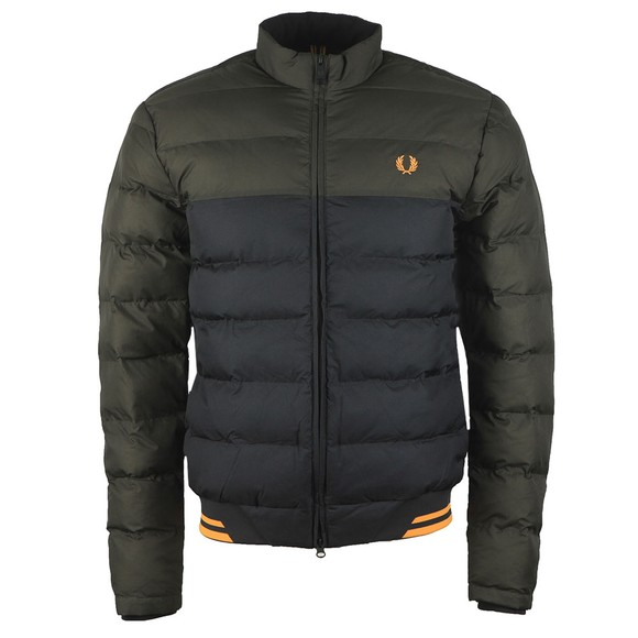 Fred Perry Mens Green Colour Block Jacket