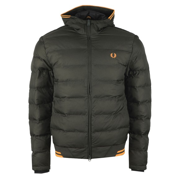 Fred Perry Mens Green Hooded Insulated Jacket main image