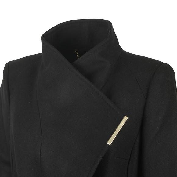 Ted Baker Womens Black Rose Midi Wool Shoulder Panelled Wrap Coat