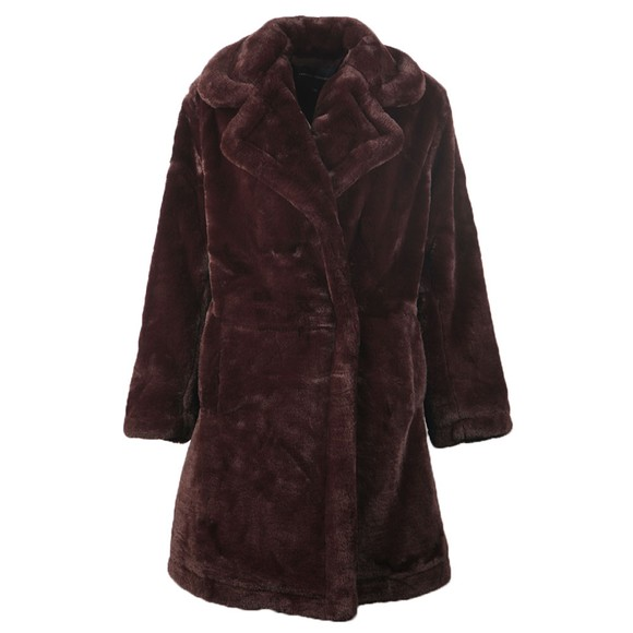 French Connection Womens Purple Banna Faux Fur Long Coat main image