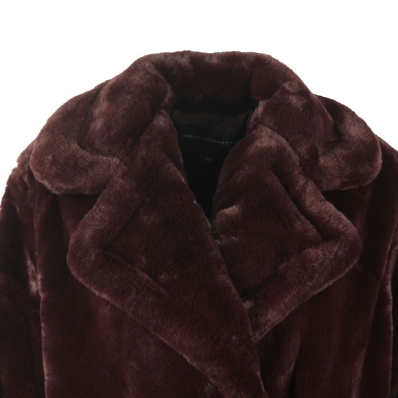French Connection Womens Purple Banna Faux Fur Long Coat