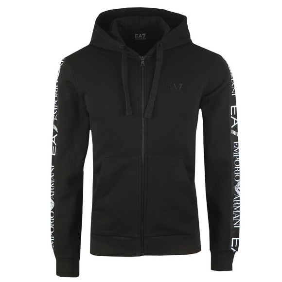 EA7 Emporio Armani Mens Black Full Zip Hooded Sweatshirt