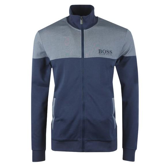 BOSS Bodywear Mens Blue Embroidered Logo Full Zip Sweat