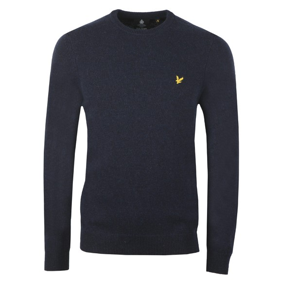 Lyle and Scott Mens Blue Crew Neck Lambswool Jumper