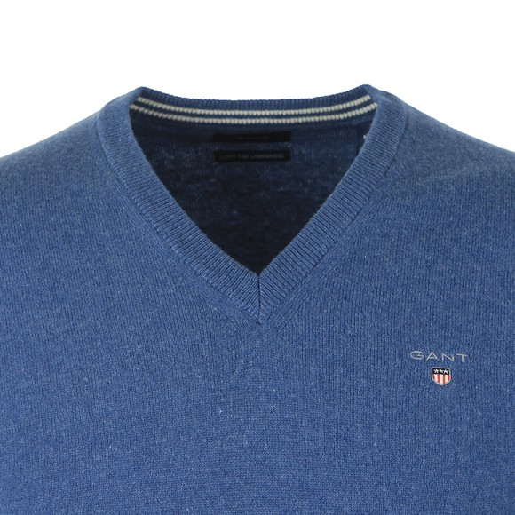 Gant Mens Blue Superfine Lambswool V-Neck Jumper