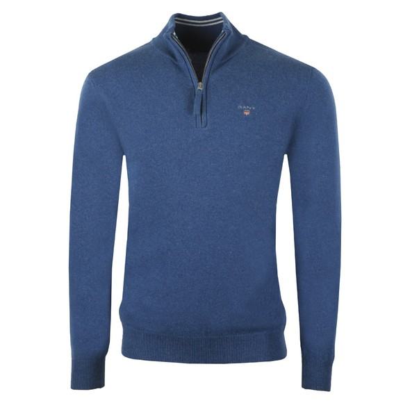 Gant Mens Blue Super Fine Lambswool Zip Jumper