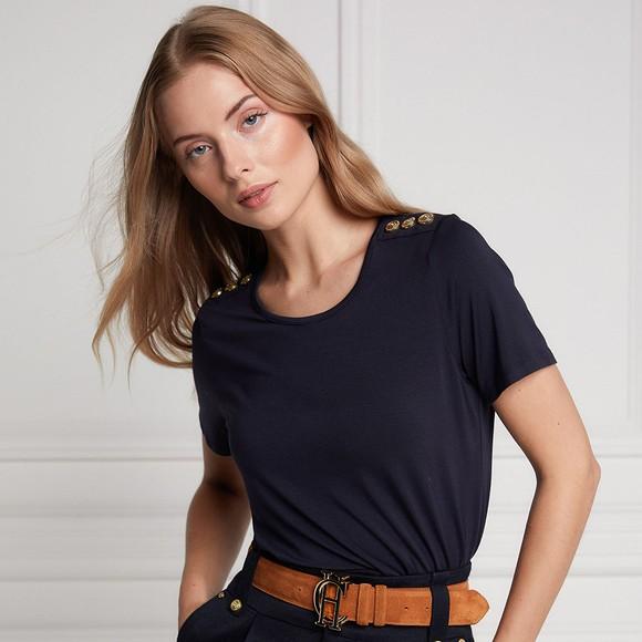 Holland Cooper Womens Blue Relax Fit Crew T Shirt