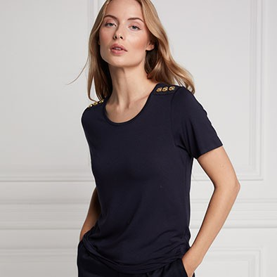 Holland Cooper Womens Blue Relax Fit Crew T Shirt main image