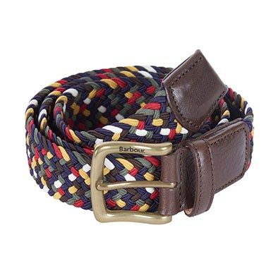 Barbour Lifestyle Mens Green Tartan Coloured Stretch Belt Gift Box