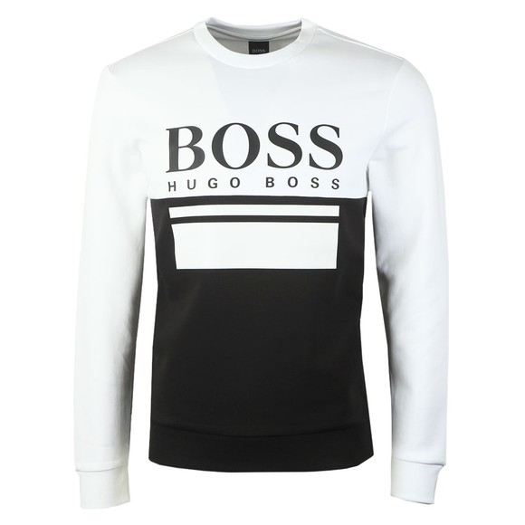 BOSS Mens Black Athleisure Salbo 1 Crew Sweatshirt