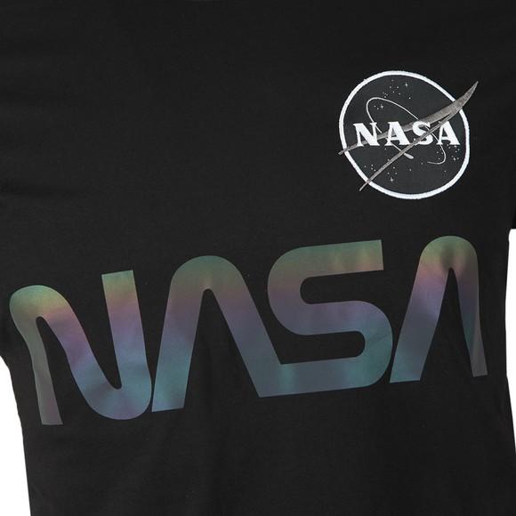 Alpha Industries Mens Black NASA Rainbow Reflective T-Shirt