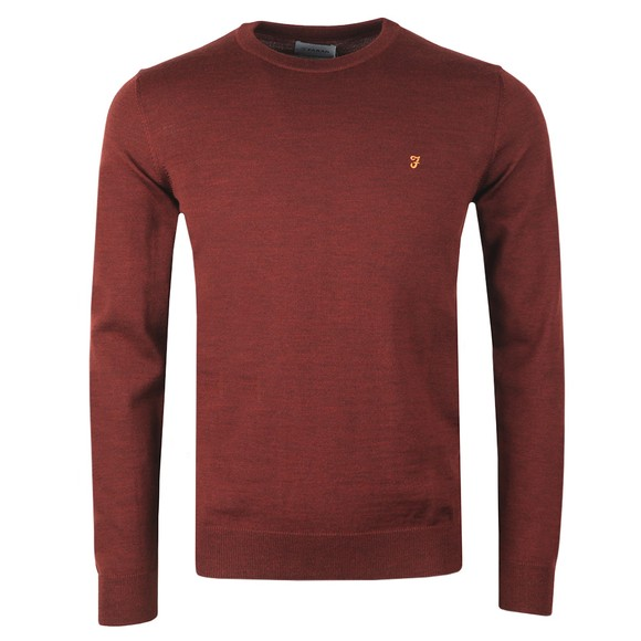 Farah Mens Purple Mullen Wool Crew Jumper