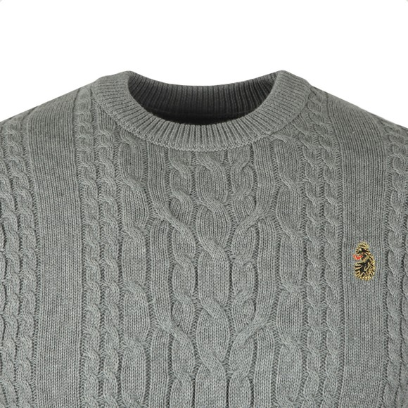 Luke Sport Mens Grey Carter Johnson Cable Knit Jumper